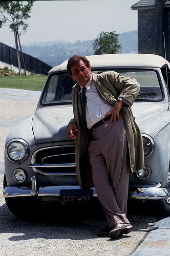 Columbo ~Peter Falk, here with his 1959 Peugeot 403 Cabriolet, perfect car for Columbo.