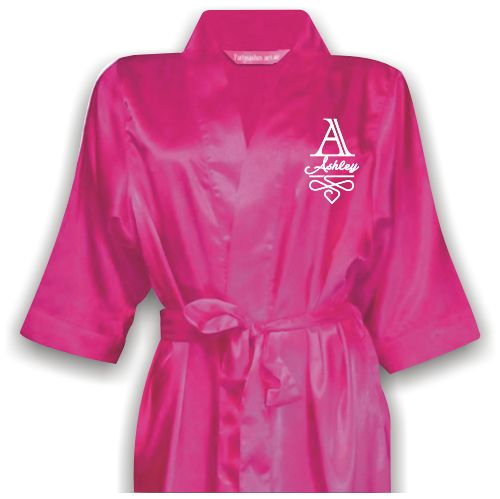 Personalized Bridal Satin Robe with name and monogram on front. Wedding Accessories Perth