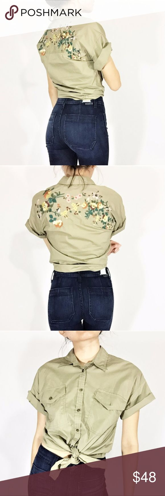 Madewell Floral Embroidered Khaki/Olive Crop -Madewell label -Embroidered floral detail on the back -Front button closure -Ties at the waist (crop style) -Labeled size XXS -Model is 5,3/102lbs -100% cotton -Fall 2017 collection Madewell Tops Button Down Shirts