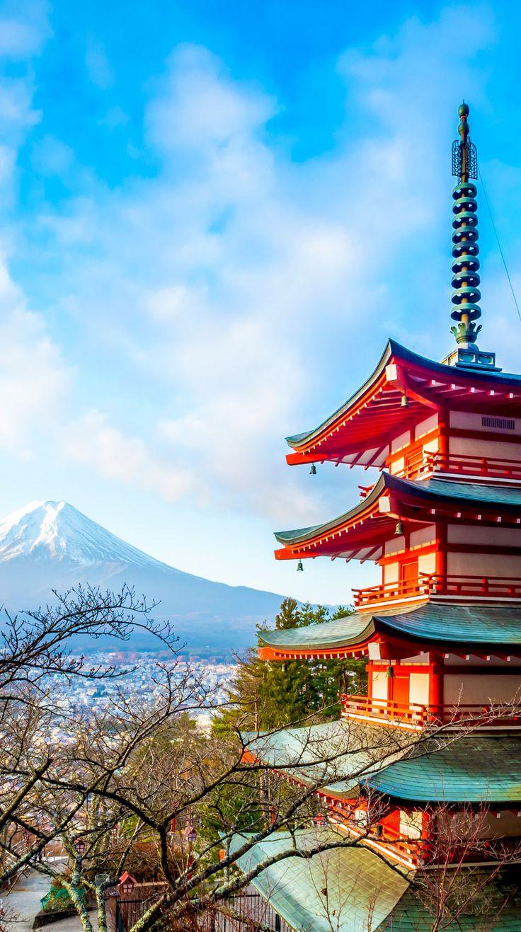 Beautiful View of Mount Fuji at Kawakuchiko lake in Japan