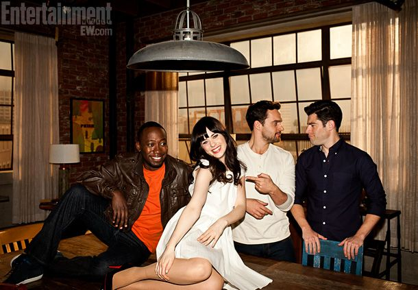 Lamorne Morris (Winston), Jake Johnson (Nick), Max Greenfield (Schmidt), and Zooey Deschanel (Jess) ~ EW Photo Shoot, March 2012 ~ #ewportraits #ewphotoshoots