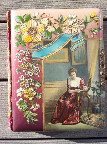 """Antique Photo Album """"Admiring Her Tresures""""Cellioud Velvet Ornate Clasp"""