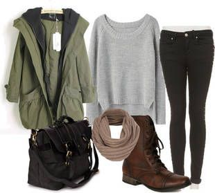 Best fall casual outfit. Cozy parka outfit