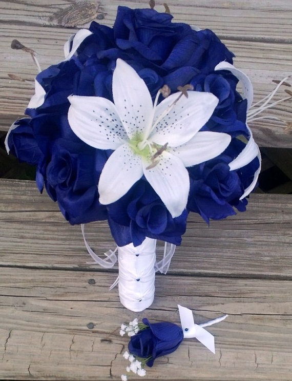 Silk Bridal Bouquet Blue Roses & White Tiger by SilkFlowersByJean, $75.00