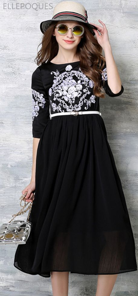 Spandex With Embroidery Midi Dress US$65.99