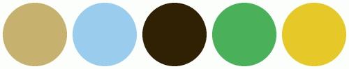 Colour Scheme - Beige walls, dark brown furniture, blue/green/yellow accents