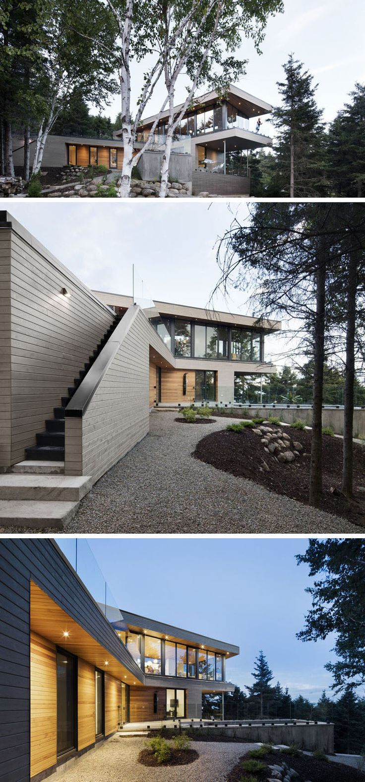 18 Modern House In The Forest // The design of this house lets the home owners enjoy the views of the surrounding forest and river.