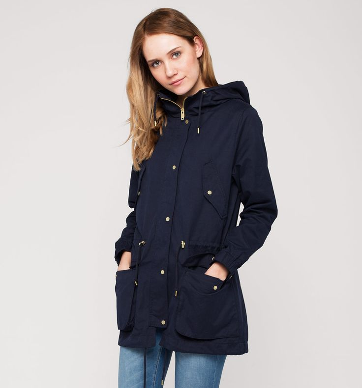 Parka m. capuchon in donkerblauw