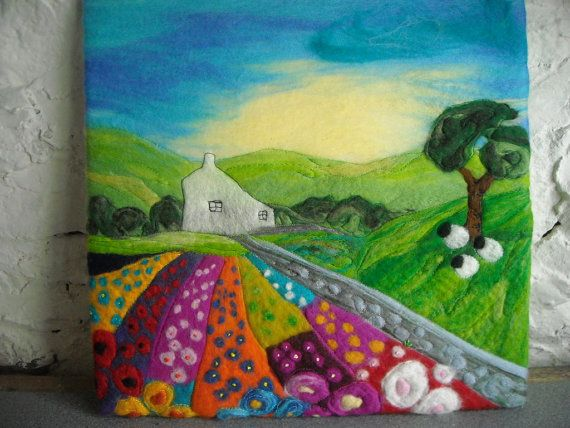 felt painting felt landscape flower felt by SueForeyfibreart, $105.00