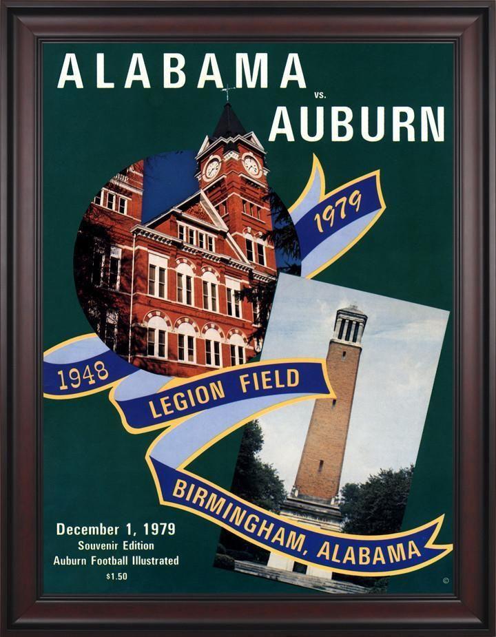 1979 Auburn Tigers vs Alabama Crimson Tide 30 x 40 Framed Canvas Historic Football Poster