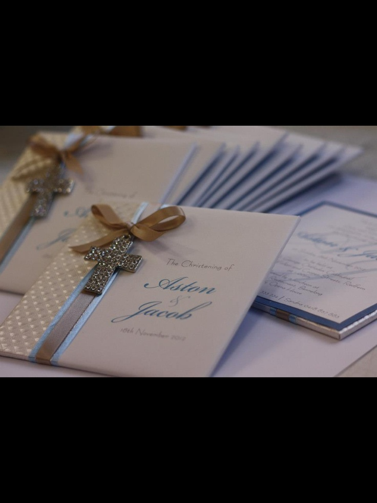 Elegant boys christening invitation by Trouli Graphics.