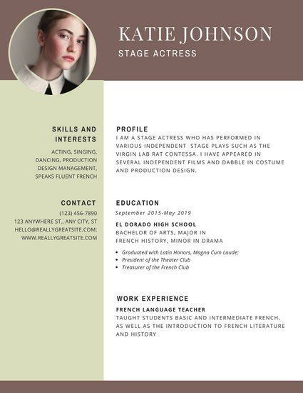 Brown Header Theatre Resume