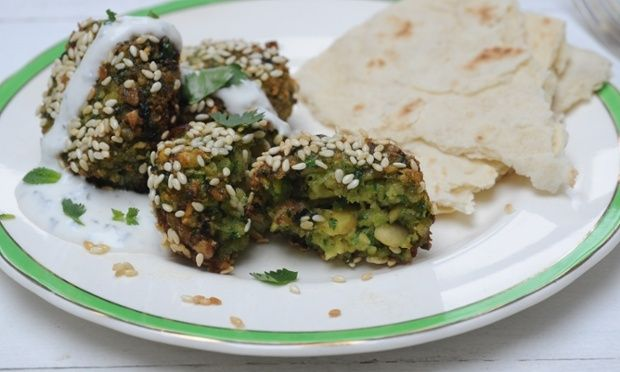 Broad bean falafel with minted yoghurt sauce plus spiced aubergine and ...