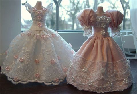 : Wedding gown and complimenting bridesmaid dress 1/12th scale.