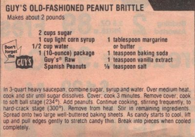 Recipe Clipping For Peanut Brittle
