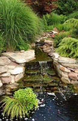 garden pond waterfall rock placement
