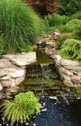 garden pond waterfall rock placement