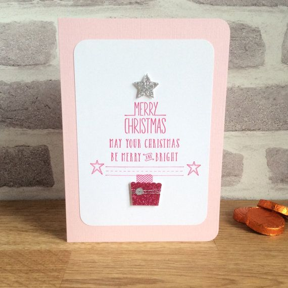 Pink Christmas cards Xmas silver star on top a by CherryMadeThis