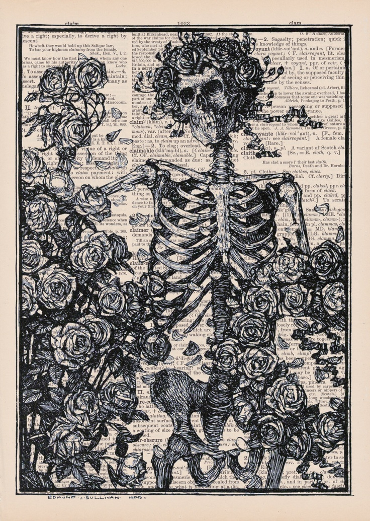 Antique Skeleton With Roses: Vintage  Dictionary Page Art Print. $9.00, via Etsy.
