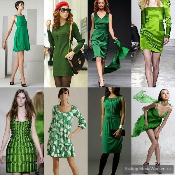 Ярко зеленое трикотажное платье
