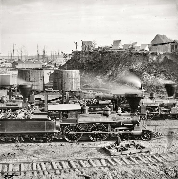"""(c. 1865) """"Gen. J.C. Robinson"""" and other locomotives of the U.S. Military Railroad - City Point, Virginia"""