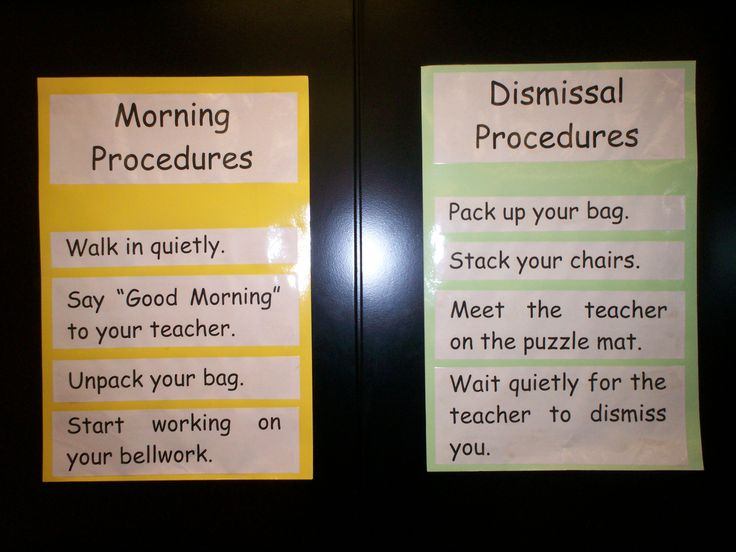 I would hang these two types of procedures on the wall closest to the door- I feel having something tangible the students can look at will help the classroom flow more smoothly.