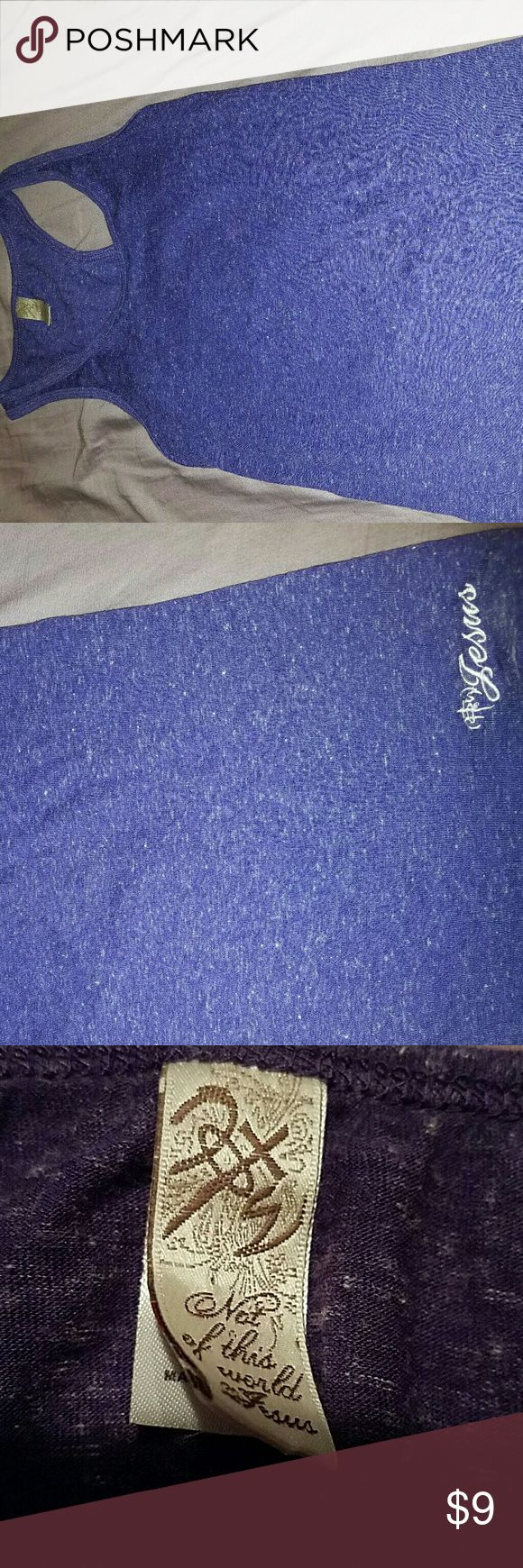 """Not of this World purple tanktop NOTW NOTW tank. Has logo and the word """" Jesus """" in lower left corner on front of tank. Brand new. Would look great with skinny jeans, also perfect to wear to the gym. Not Of This World Tops Tank Tops"""