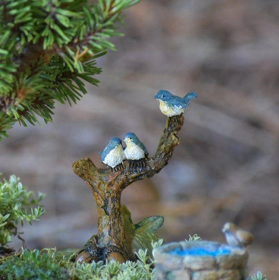 Fairy Garden Birds / Miniature birds in Tree / Blue Bird Figurine / Fairy Garden Accessories – Products