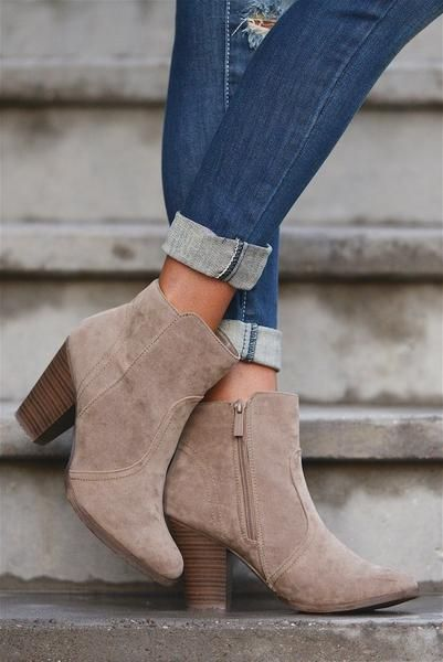 Staying Grounded Suede Booties - Beige