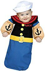 Christina: Celebrating his first Halloween as Popeye! The costume was made using a black long sleeve onsie and adding ribbon and nude colored fabric to make the arms. The collar was...
