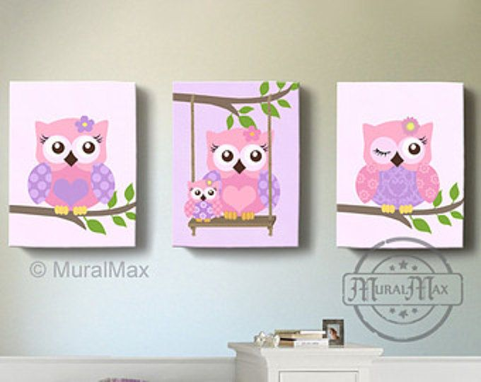 Arte de buho, chicas vivero Decor arte de la pared, buho vivero arte, arte de la lona, Girl Room Decor, buho vivero Decor, púrpura y rosa