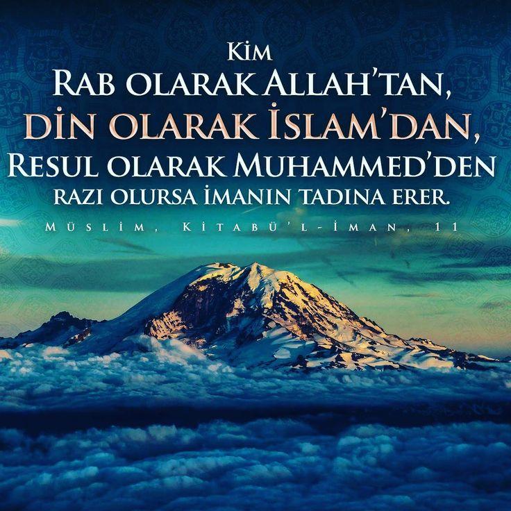 Kim Rabb olarak Allah'tan, din olarak İslam'dan, Resûl olarak Muhammed'de razı olursa imanın tadına erer. (Müslim, Kitabü'l-İman, 11)  #rab #islam #rasul #hadisler #muhammed #iman #istanbul #hayırlısabahlar #ilmisuffa