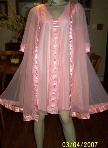 Vintage Double Layer Chiffon Lace Sissy Nightgown Peignoir ...