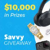 $10000 in Gift Cards and Prizes Giveaway  Open to: United States Canada Ending on: 05/19/2018 Enter for a chance to win a $250 Visa Gift Card (one winner) $150 Visa Gift Card (one winner) $50 Visa Gift Cards (three winners) or $5 in Savvy Cash (1910 winners). Enter this Giveaway at Savvy  Enter the $10000 in Gift Cards and Prizes Giveaway on Giveaway Promote.