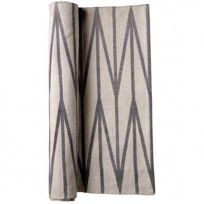 Bloomingville Läufer grafisch sand-grau - kleiner Teppich aus Baumwolle
