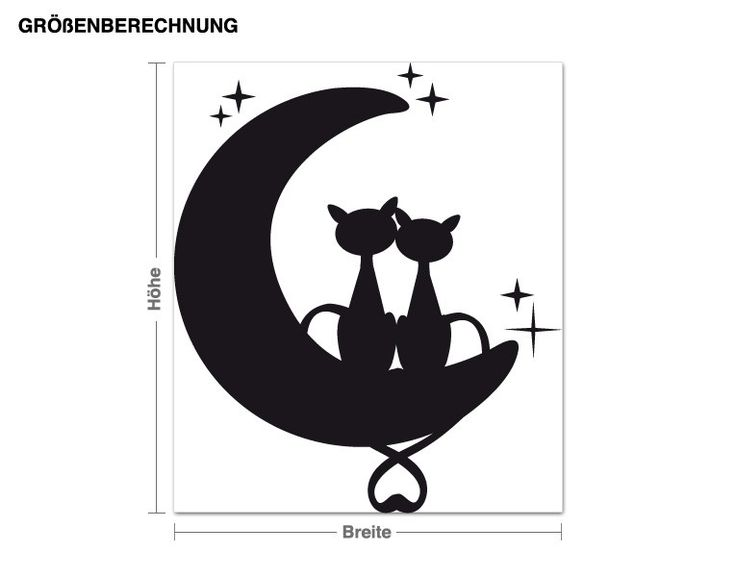 Superb Wandtattoo Katzen auf dem Mond