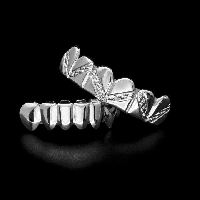 [FULL SET] AZTEC STAMPED SILVER GRILLZ