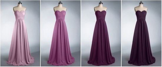 Do an even lighter purple for the flower-girl and then an eggplant sash on the wedding dress. purple-ombre-bridesmaid-dresses