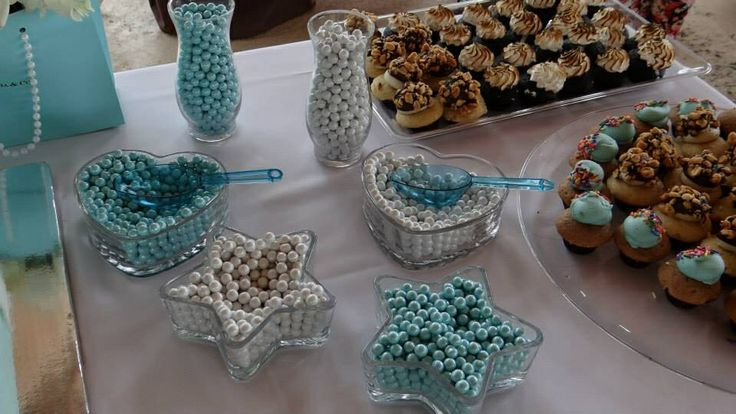 Tiffany & Co themed baby shower decorations candy stations