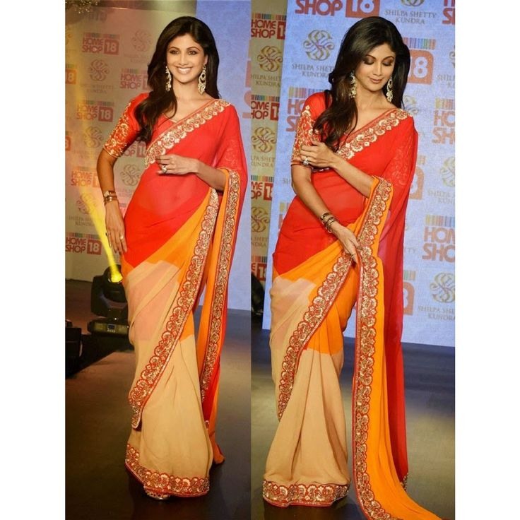 #Shilpa Shetty Multicolor Bollywood Style Saree #Step out with the Bollywood Style. Dress up like a celebrity. To Buy Online Click http://trendzila.com/home/413-shilpa-shetty-multicolor-bollywood-style-saree.html