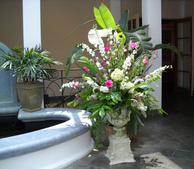 English Turn Fountain Ceremony Flowers Wedding Wedding Reception Urn Urns Tropical