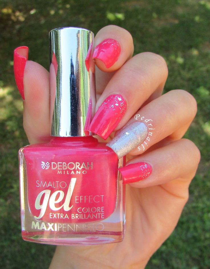 Waterfall manicure with silver glitter accent nail and fucsia nail polish