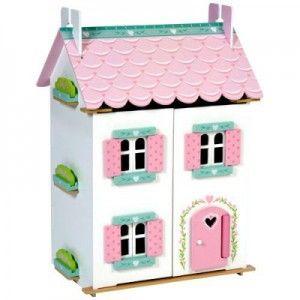 ΞΥΛΙΝΟ ΚΟΥΚΛΟΣΠΙΤΟ SWEETHEART Είναι ένα ξύλινο σπίτι ζωγραφισμένο εσωτερικά κι εξωτερικά με παράθυρα, πόρτα, σκεπή και πρόσοψη που ανοίγουν για την καλύτερη πρόσβαση στους ορόφους και τα δωμάτιά του. Περιλαμβάνει το σύνολο των επίπλων του. Οι κούκλες πωλούνται χωριστά.