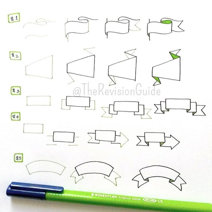 """How to draw banners... #TheRevisionGuide_HowTo add these to your notes and your notes would instantly become more interesting :) #TheRevisionGuide_Banners…"""