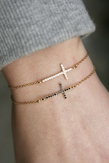 CZ Gold Sideways Cross Bracelet Sterling Silver from kellinsilver.com