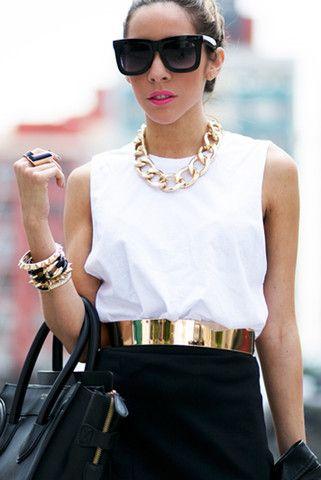Gold belt, gold necklace and layered bracelets!