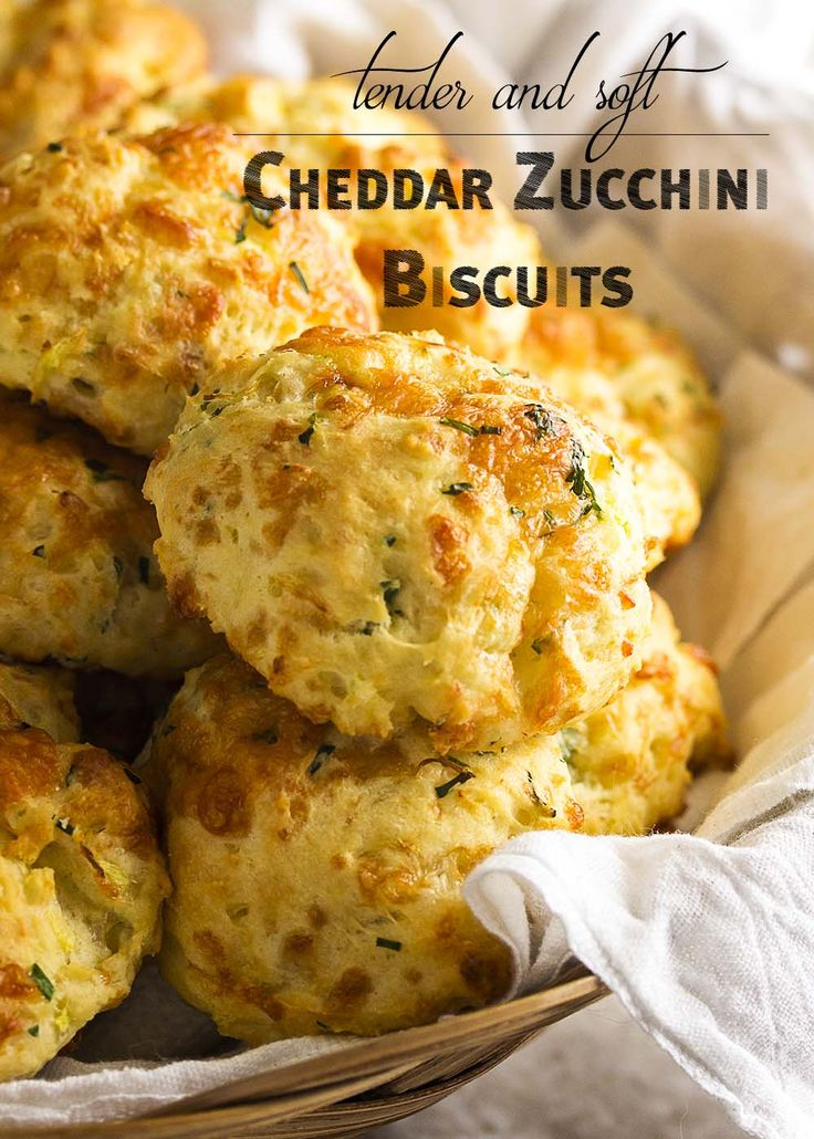 Zucchini cheddar biscuits are soft, tender and full of shredded zucchini and sharp cheddar. Just drop them onto the baking tray and go.   justalittlebitofbacon.com