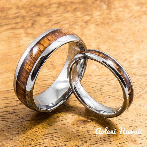 Wedding Band Set of Tungsten Rings with Hawaiian Koa Wood Inlay (4mm & 8mm width, Barrel Style) - Aolani Hawaii - 1