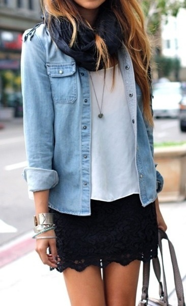 Black lace skirt with white shirt, light jean jacket, dark scarf, and heart necklace