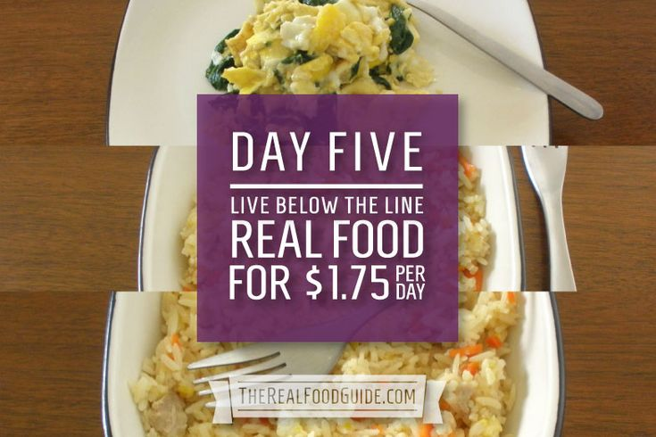 Day 5: Food break-down for the Live Below the Line Challenge http://livebelowtheline.com: Eating on a budget of $1.75/day